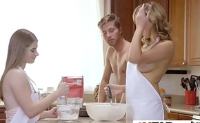 He was shocked to see these two naked ladies cook cookies